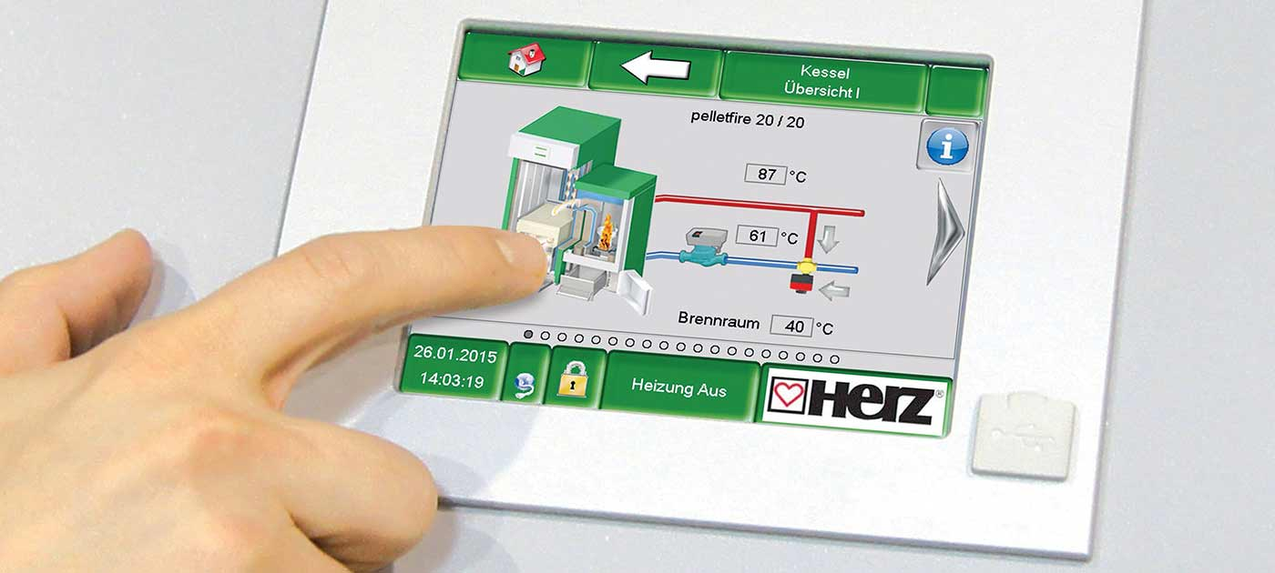 Сензорен екран на пелетния котел HERZ Pelletstar