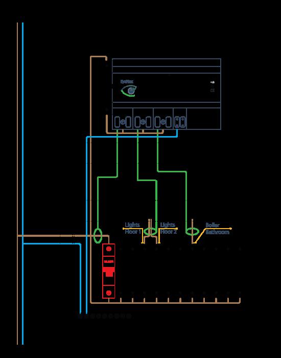 Подключение трехканального модуля энергомониторинга EyeWatt к однофазной сети