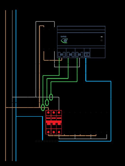 Подключение модуля энергомониторинга EyeWatt к трехфазной сети