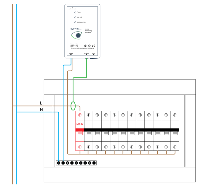 Подключение одноканального модуля энергомониторинга EyeWatt Mini