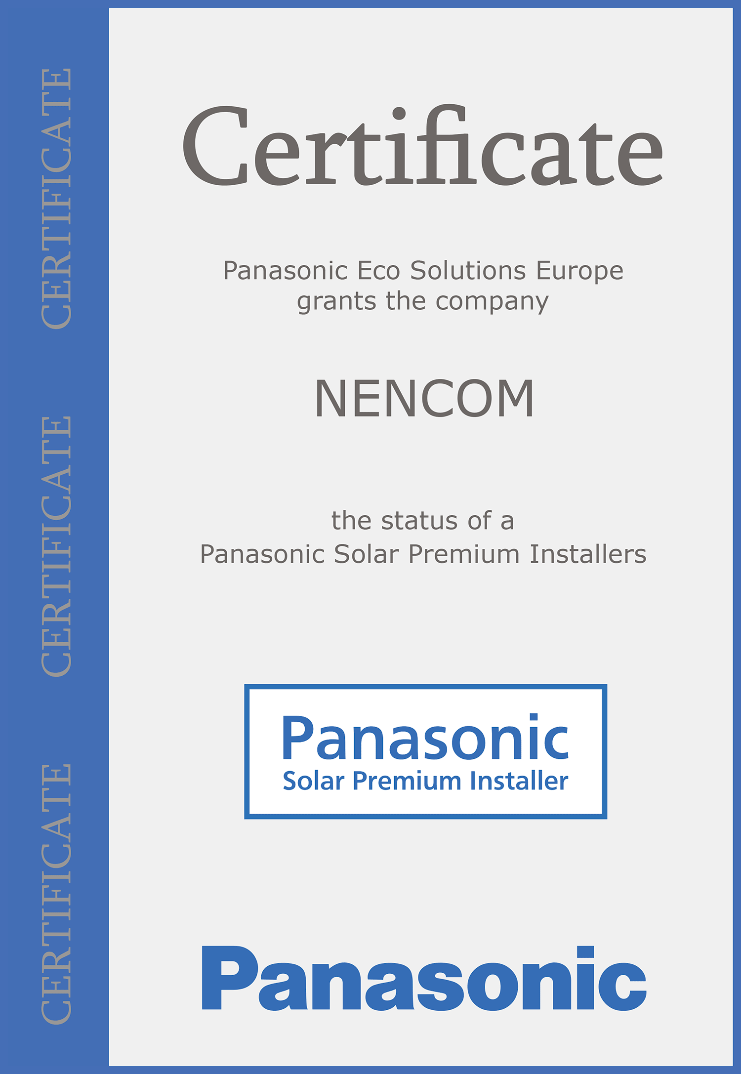 NENCOM is a Panasonic Solar Premium Installer status