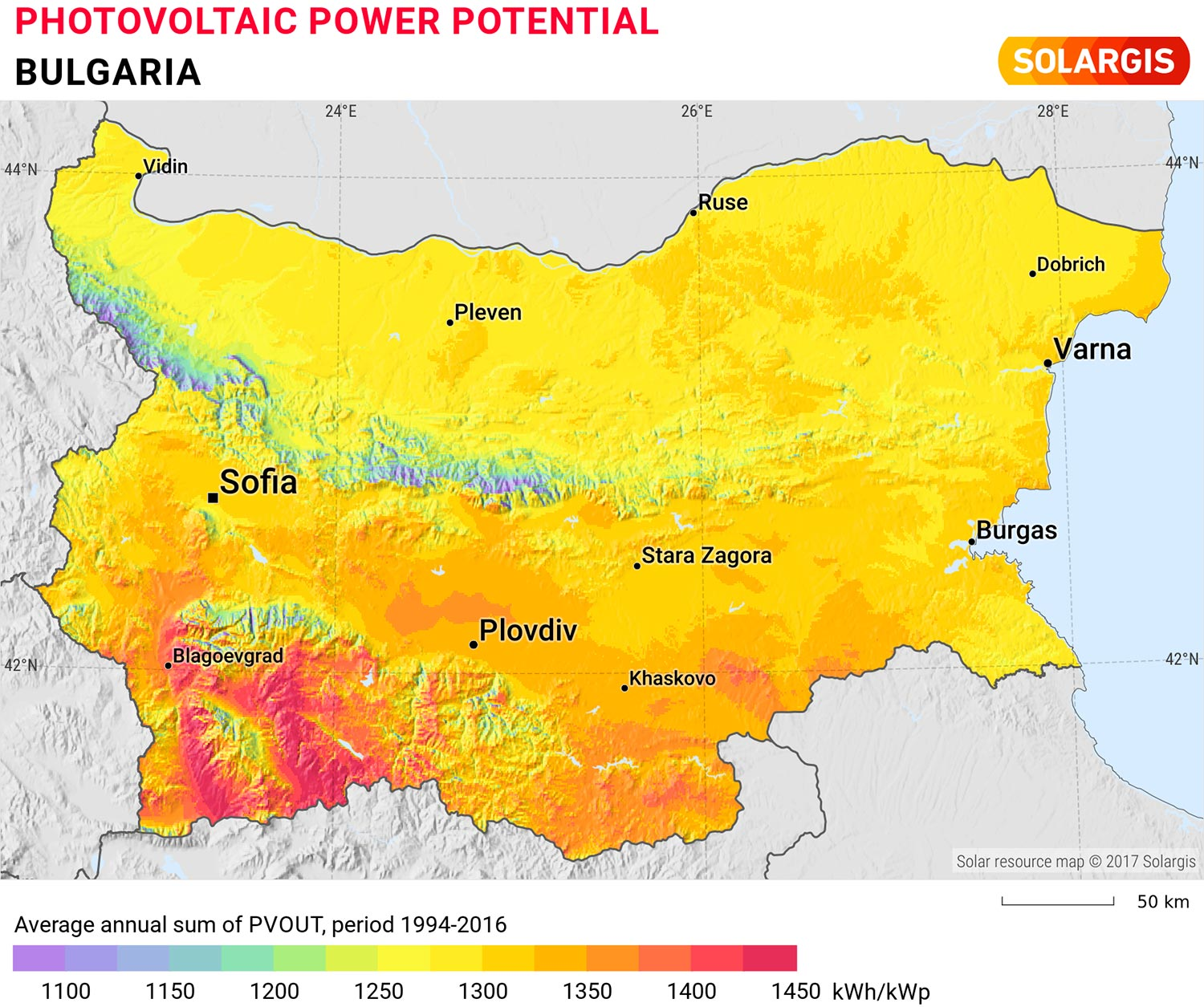 Map of the photovoltaic potential of Bulgaria