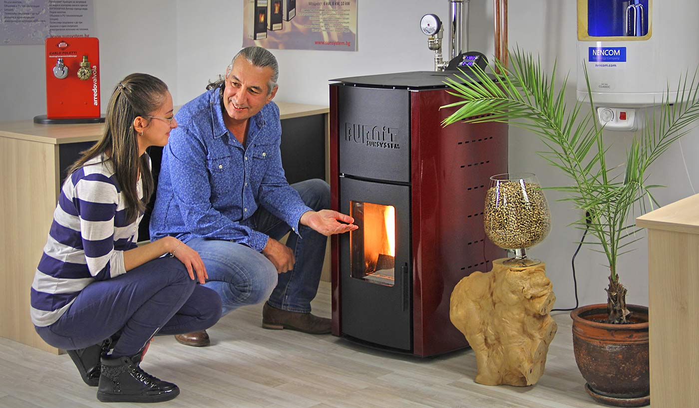 Pellet stove in office