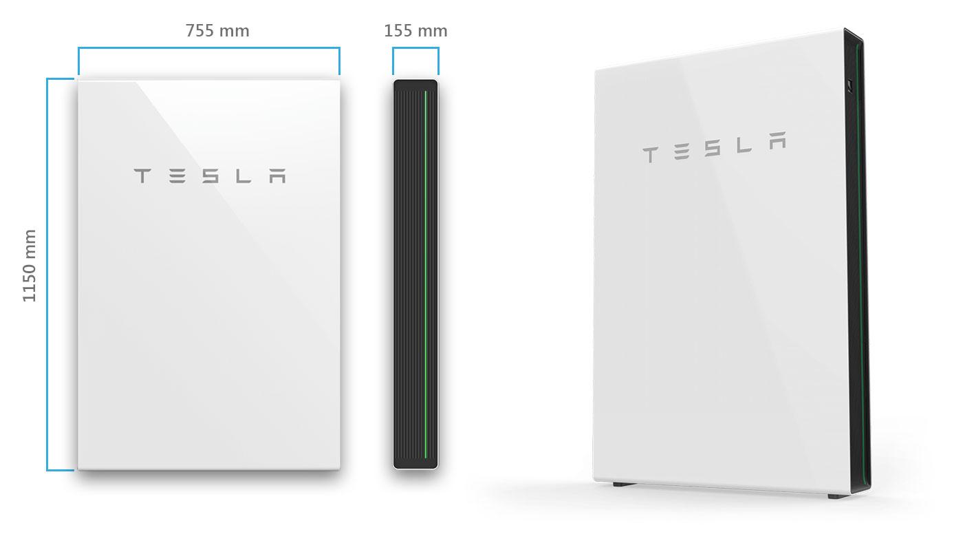 Размеры Tesla Powerwall 2