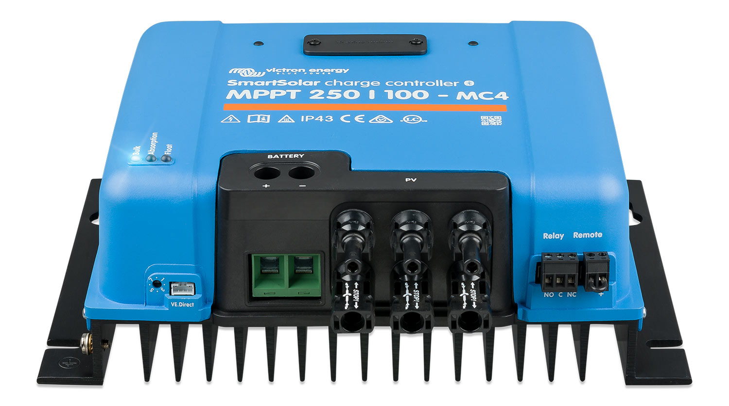 Standard MC4 connectors on the Victron Energy SmartSolar MPPT 250/100 charge controller